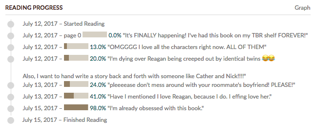 Bree's Fangirl Updates on Goodreads
